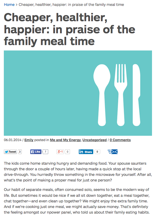 """From """"in praise of family meal time"""""""
